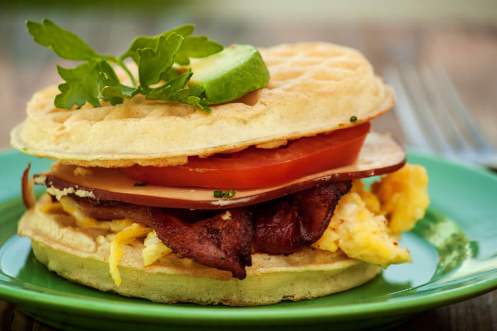 Savory Cheddar Waffle BLT With Egg Recipe — Dishmaps